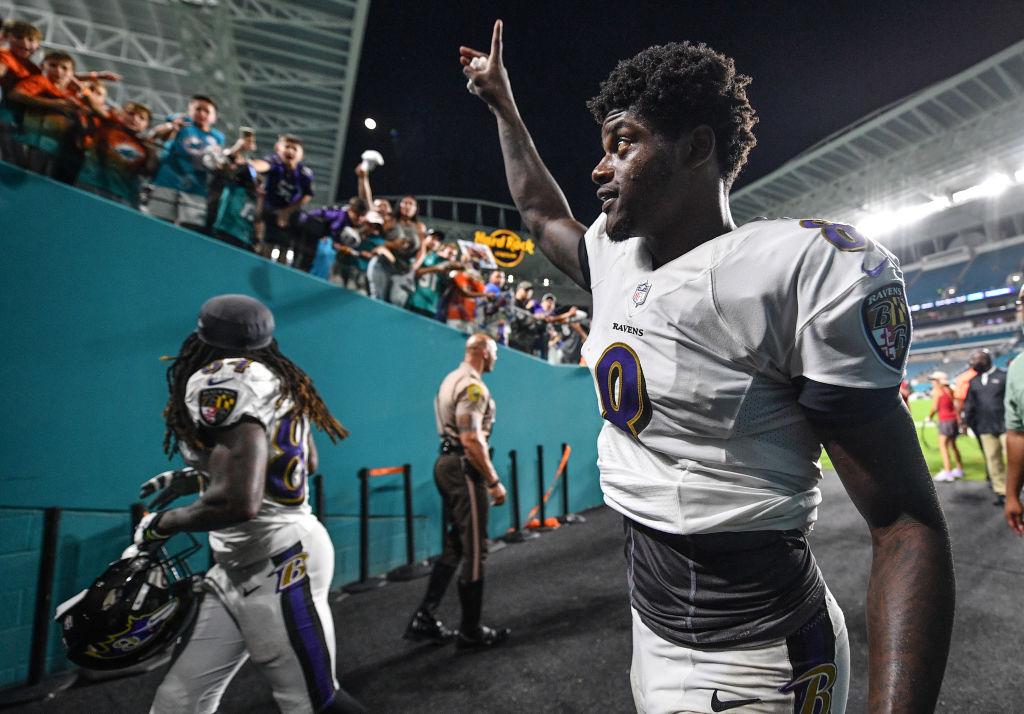 Lamar Jackson #8 of the Baltimore Ravens