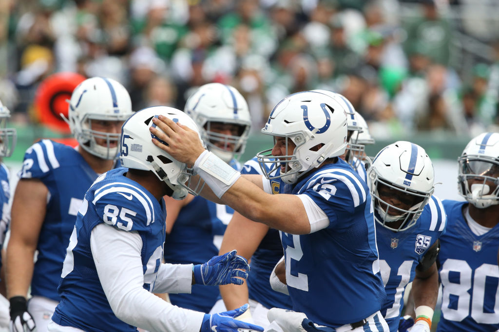 Andrew Luck celebrating after a touchdown pass