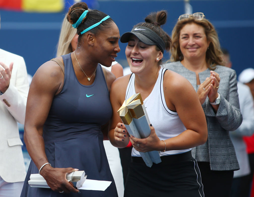 Serena Williams congratulating Bianca Andreescu on her Canada Open win