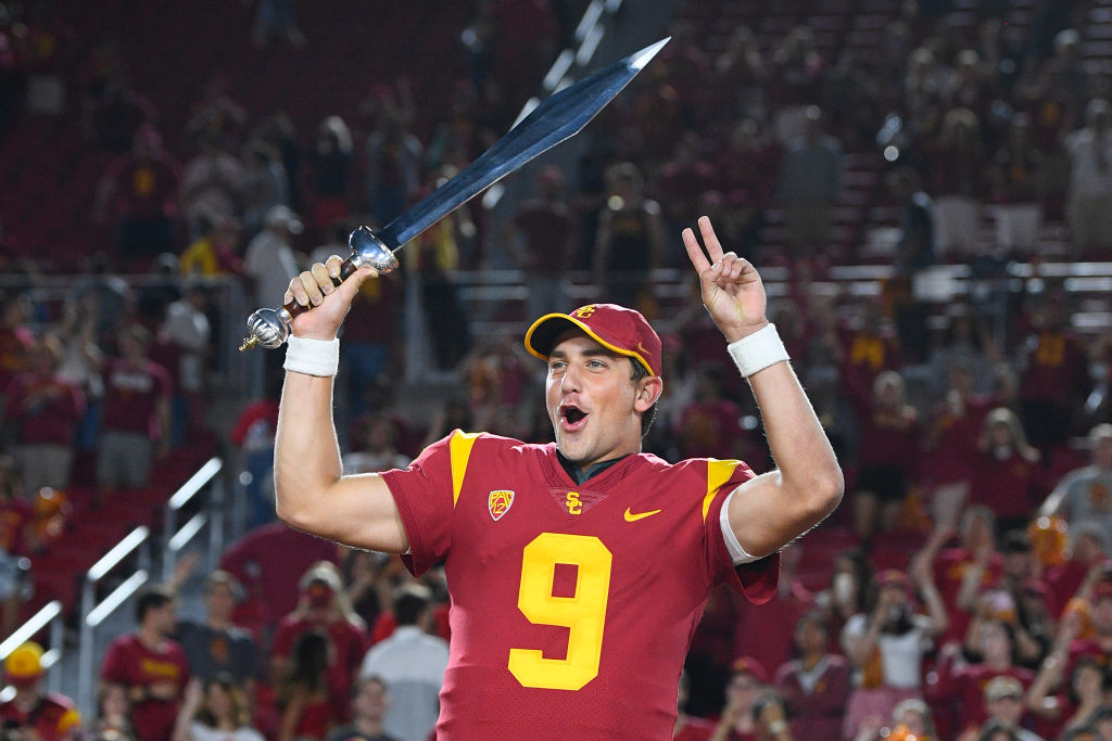 Kedon Slovis celebrating USC's win over Stanford