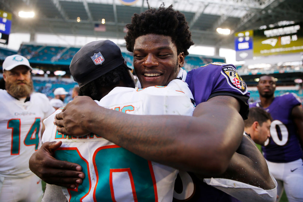 Lamar Jackson was all smiles after crushing the Miami Dolphins