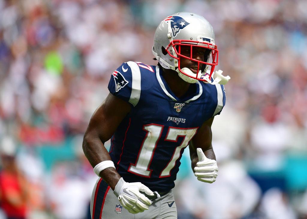 Antonio Brown #17 of the New England Patriots in action