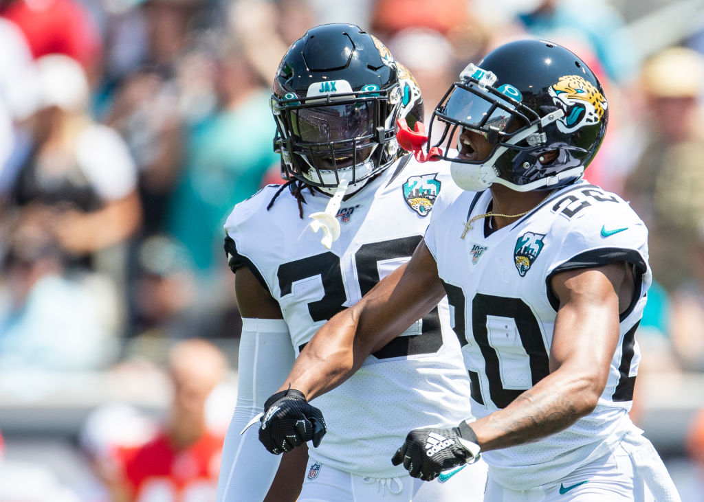 Jalen Ramsey celebrates after making a play on defense