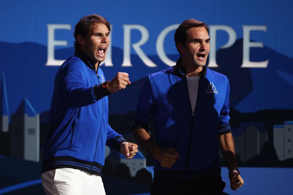 Rafael Nadal and Roger Federer of Team Europe celebrate