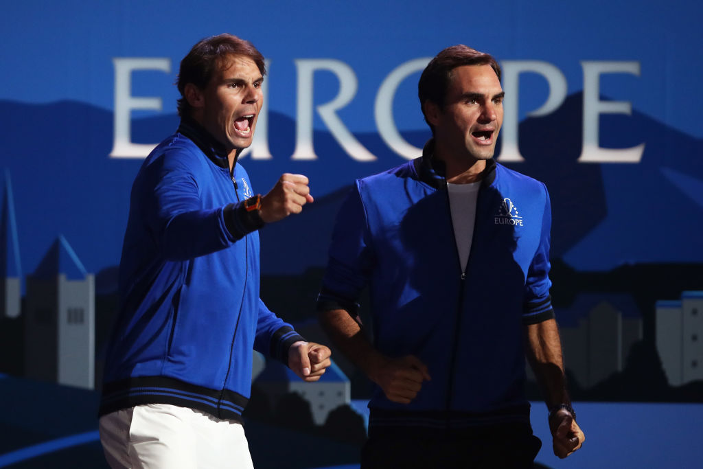 Rafael Nadal and Roger Federer of Team Europe celebrate