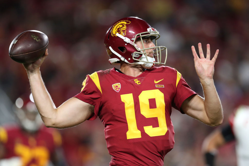 Quarterback Matt Fink #19 of the USC Trojans