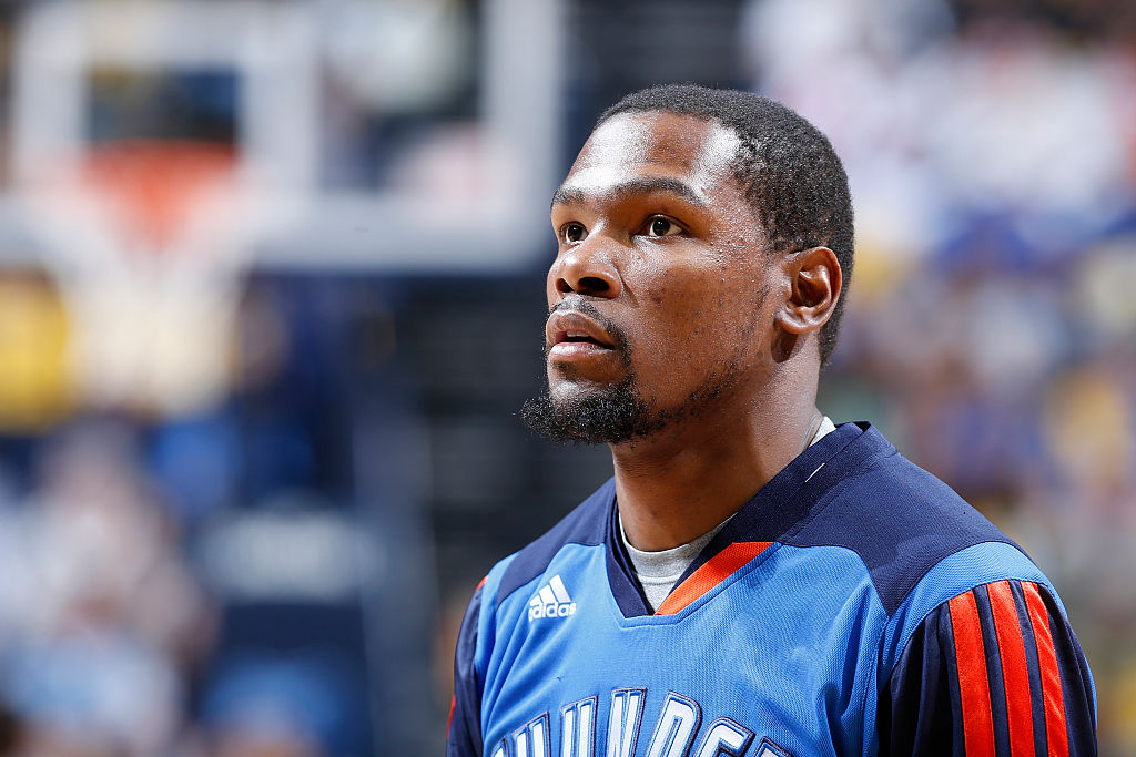 Kevin Durant #35 of the Oklahoma City Thunder looks on