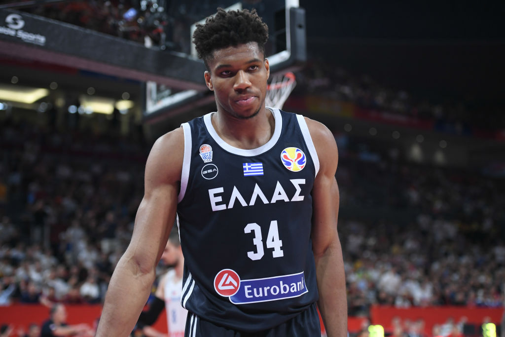 Giannis Antetokounmpo in his Greek National Team jersey.