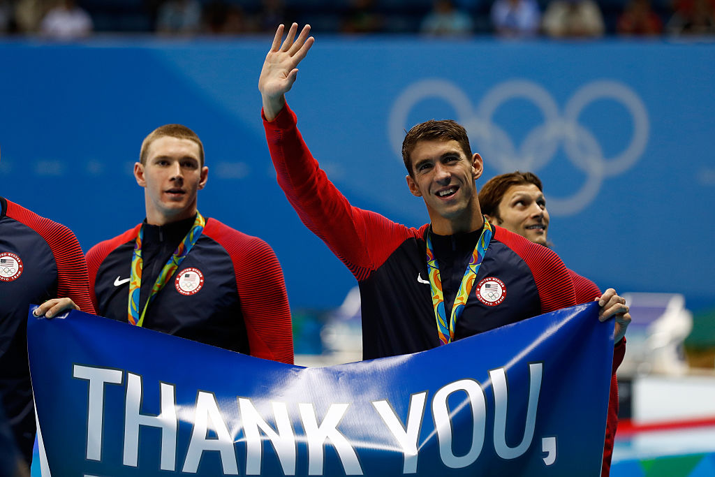 Gold medalist Michael Phelps of the United States celebrates at the 2016 Olympics