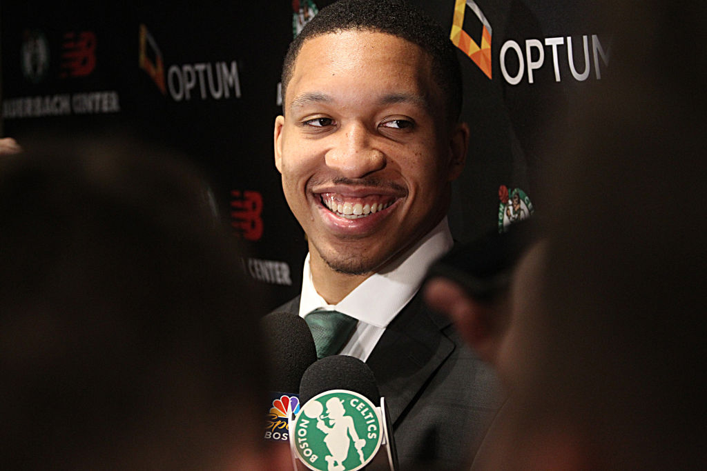 Grant Williams in a press conference after joining the Boston Celtics