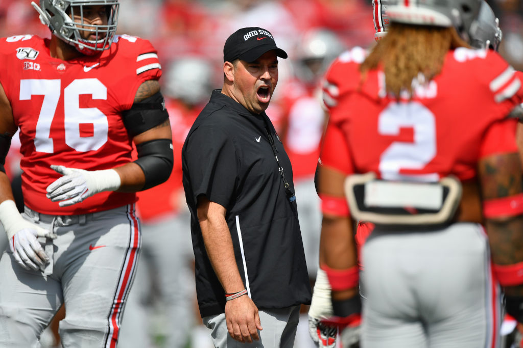 Head coach Ryan Day of the Ohio State Buckeyes shouts instructions to his team