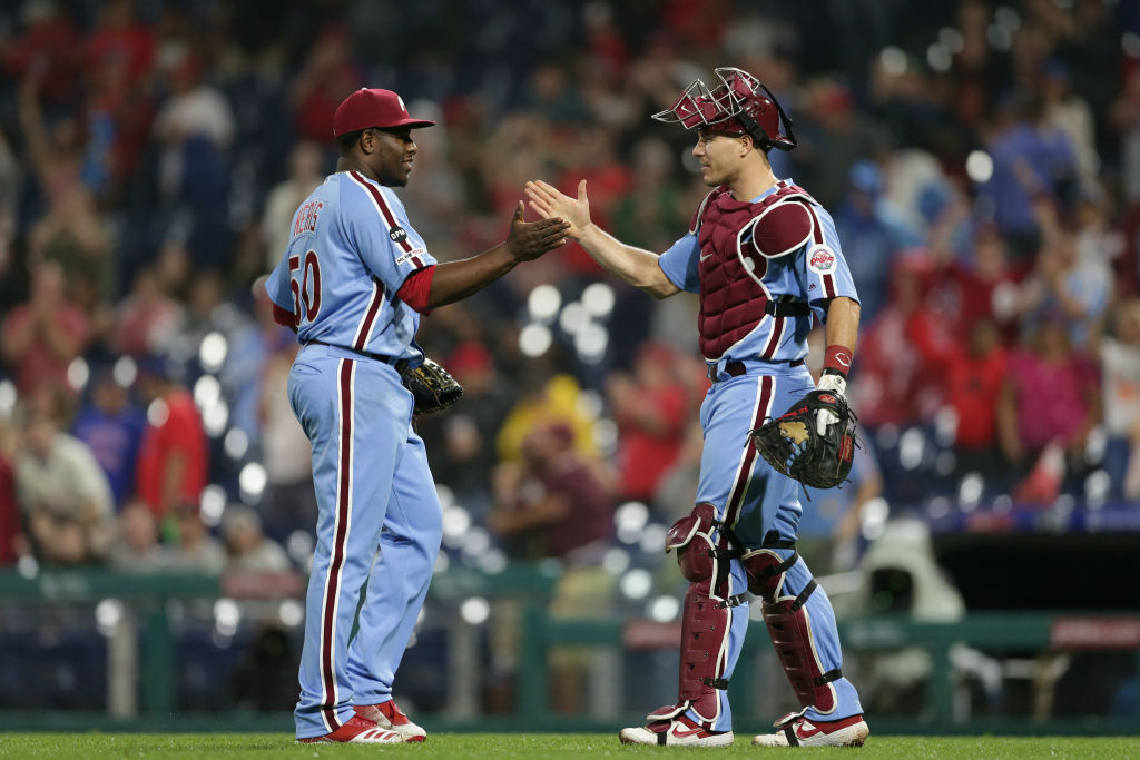 Phillies catcher J.T. Realmuto (right) quietly put together the best season of his career in 2019.