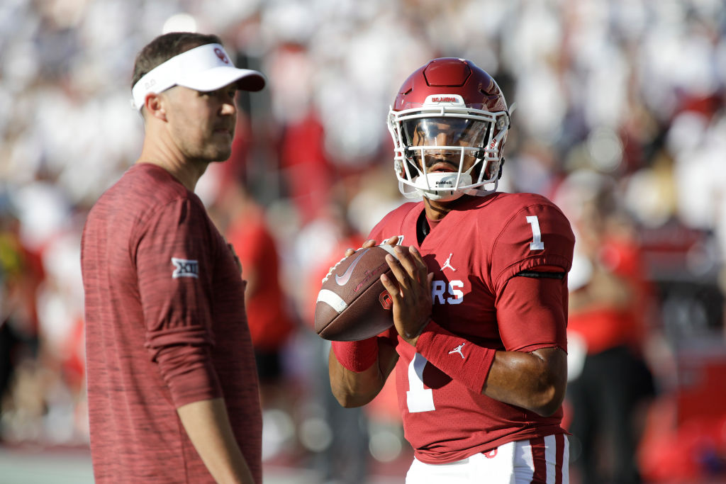 Does Jalen Hurts (right) have to worry about losing his starting QB job with the Oklahoma Sooners?