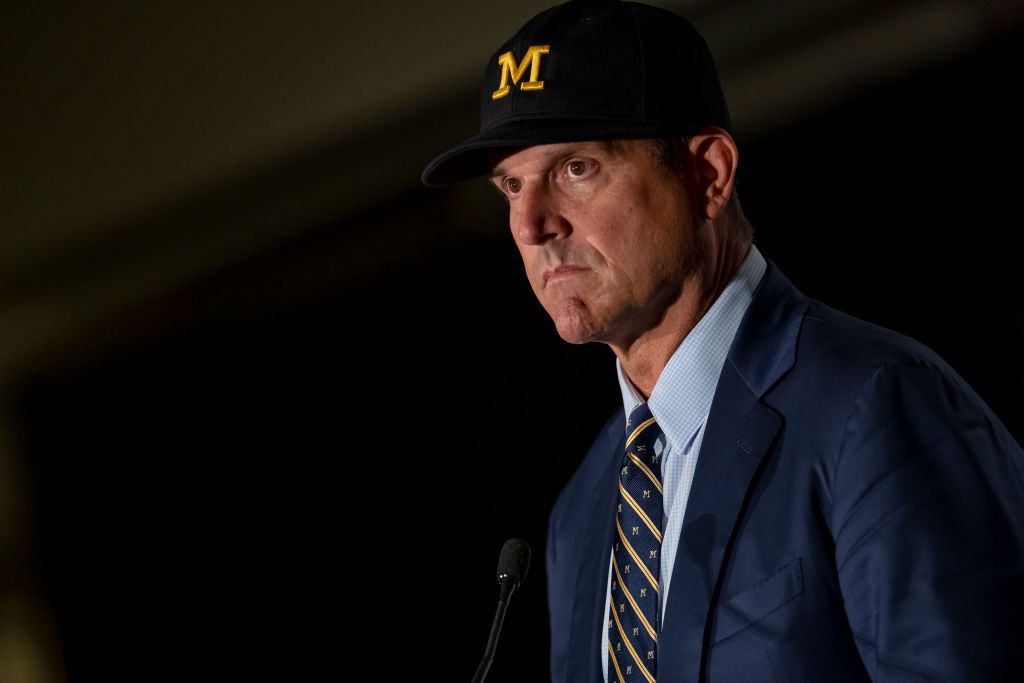 Jim Harbaugh coach of the Michigan Wolverines