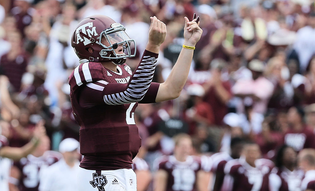 College football superstar Johnny Manziel celebrating a touchdown