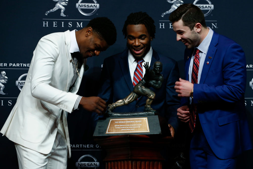 Lamar Jackson of Louisville (L), Bryce Love of Stanford (C), and Baker Mayfield of Oklahoma attend the 2017 Heisman Trophy Presentation