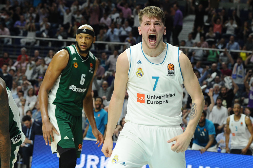 Luka Doncic playing in the EuroLeague, a European Basketball League