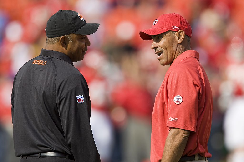 Marvin Lewis is doing just fine after being fired by the Bengals as he hooked up with former colleague Herm Edwards.