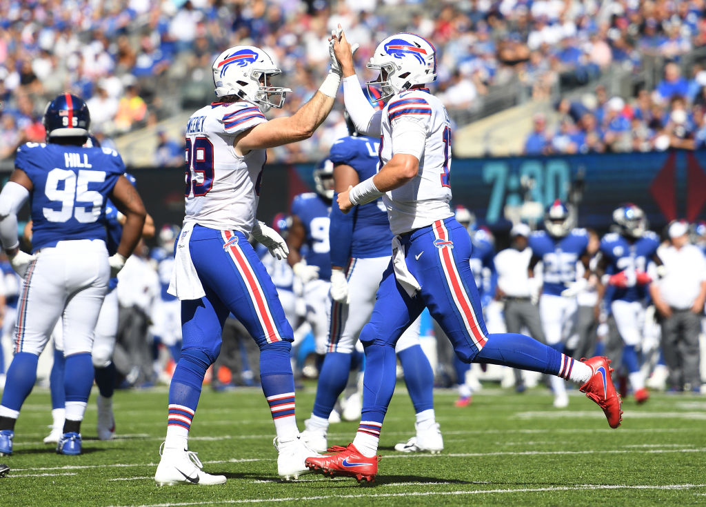 Josh Allen and Tommy Sweeney helped the Bills improve to 2-0 with a win over the Giants on Sept. 15, 2019.