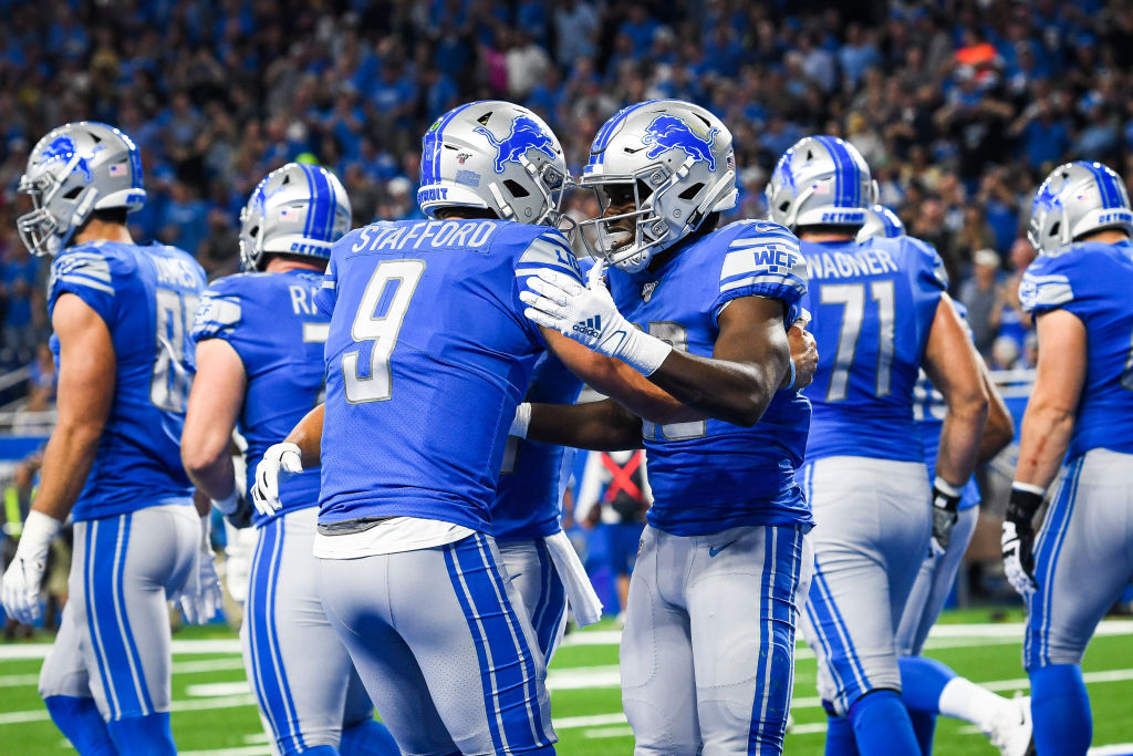 Matthew Stafford (left) and Kerryon Johnson both made significant contributions in the Lions' 13-10 win over the Chargers on Sept. 15, 2019.