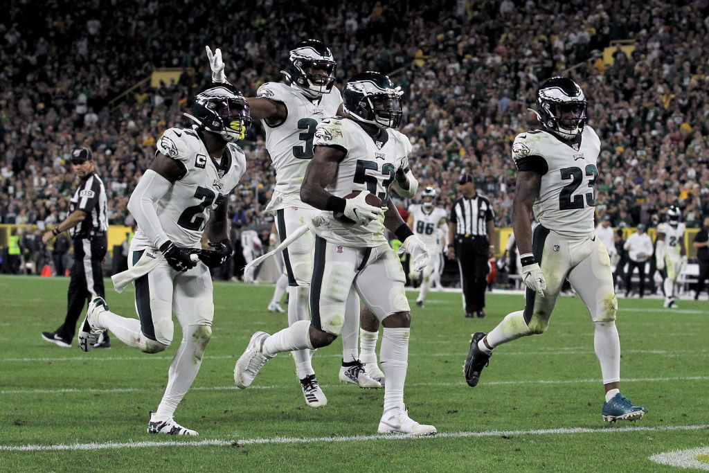 The Philadelphia Eagles' defense celebrates a big play during their much-needed win against the Green Bay Packers on Sept. 26.