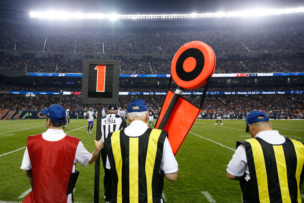 The sideline chain gang during an NFL game