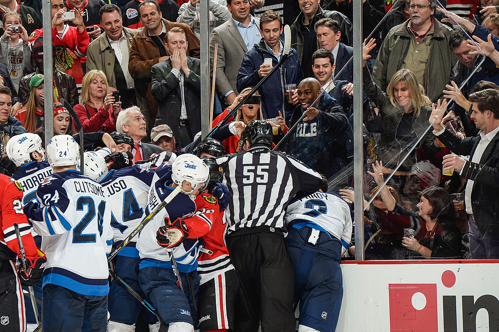 A fight puts player safety in danger during a Jets and Blackhawks game