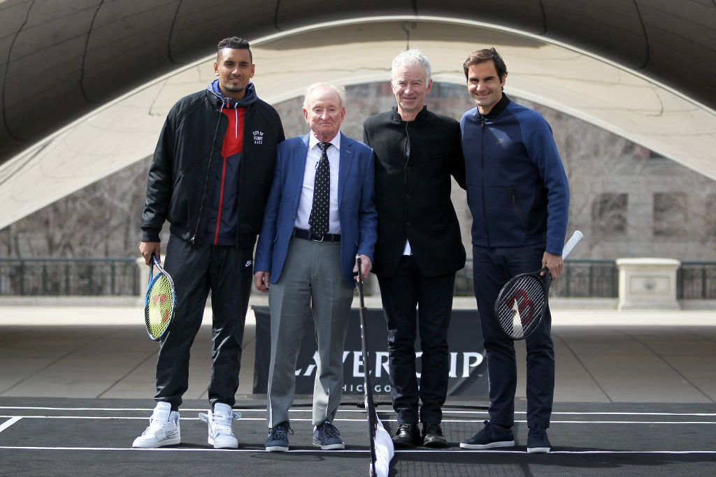Nick Kyrgios (left) and his bad behavior irk former tennis great and fellow Australian Rob Laver (second from left).