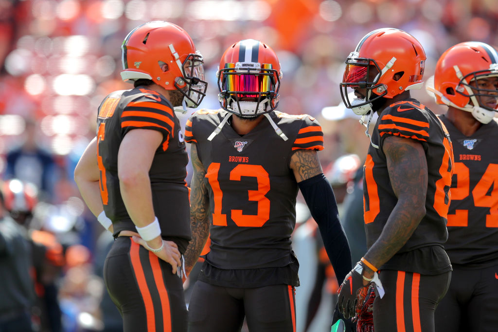 Browns wide receivers Odell Beckham Jr. and Jarvis Landry and quarterback Baker Mayfield
