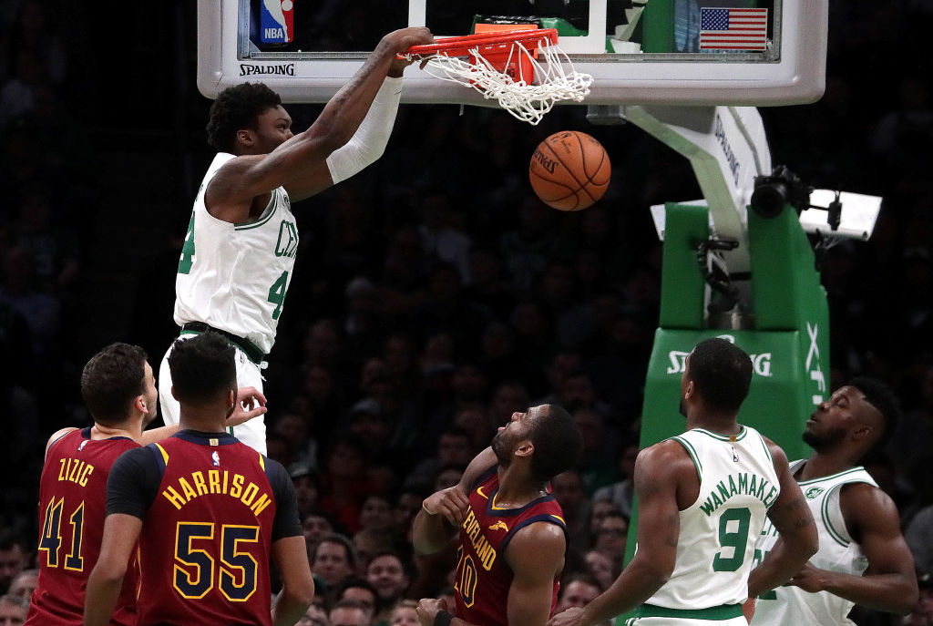 Robert Williams (dunking) could be the key to the 2019-20 season for the Boston Celtics.