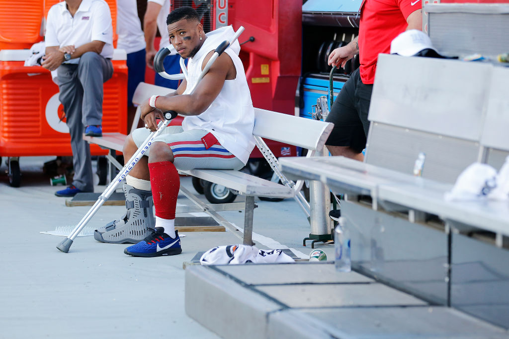 Giants running back Saquon Barkley after ankle injury vs. Buccaneers