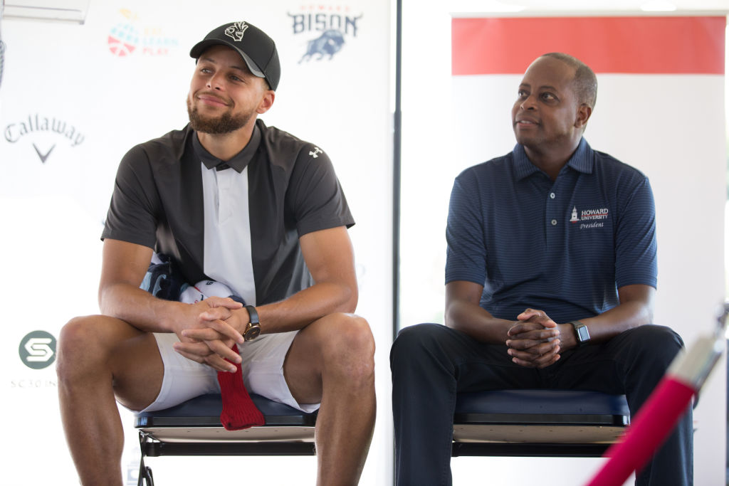 Golden State Warriors' star Stephen Curry (left) is putting his fortune to good use by sponsoring the Howard University golf programs.