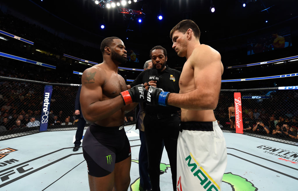 Opponents Tyron Woodley and Demian Maia face off prior to their UFC welterweight championship bout during the UFC 214