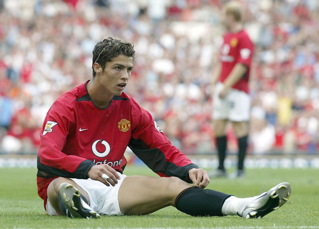 A young Cristiano Ronaldo playing for Manchester United
