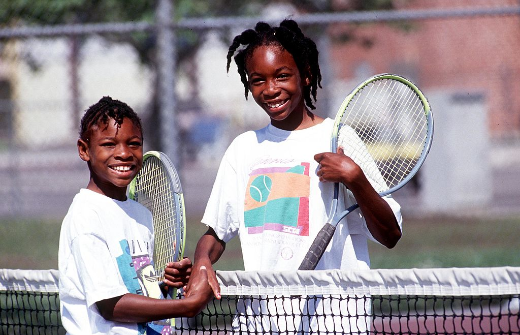 Serena Williams with her sister Venus when they were kids.