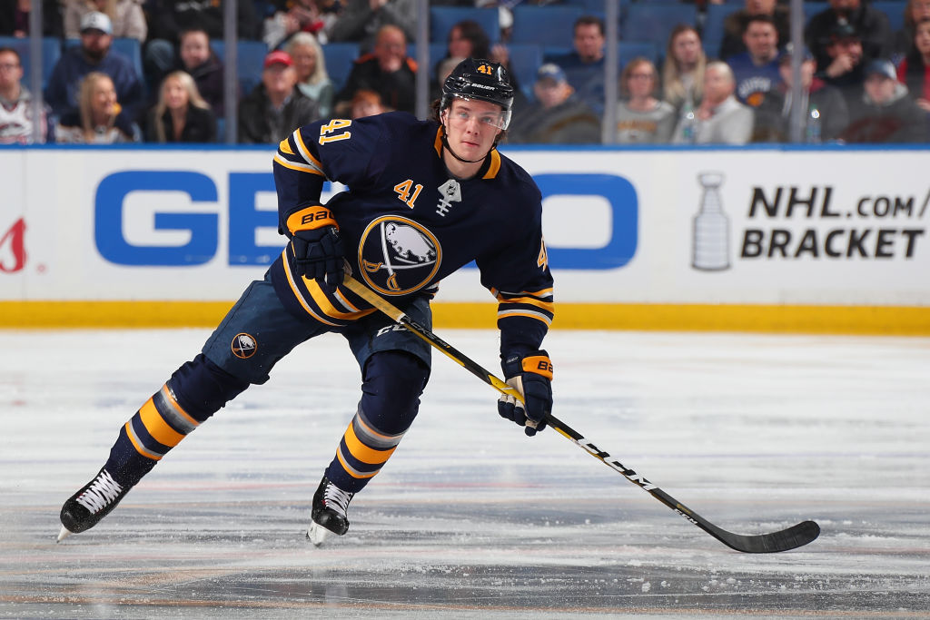 #41 of the Buffalo Sabres wearing what will be the team's old uniform after they switch to the Sabres 50th Anniversary jerseys.