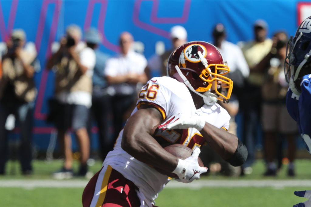 Washington Redskins running back Adrian Peterson has struggled this NFL season.
