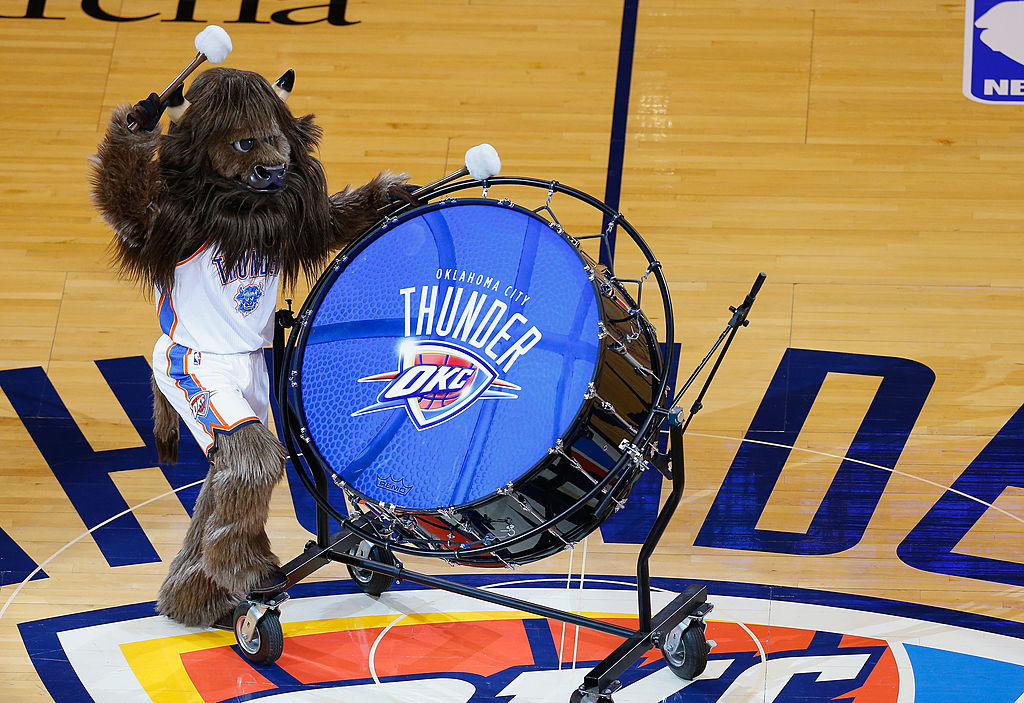 NBA mascots, such as the Rumble the Bison at Oklahoma City Thunder games, earn a nice chunk of change.