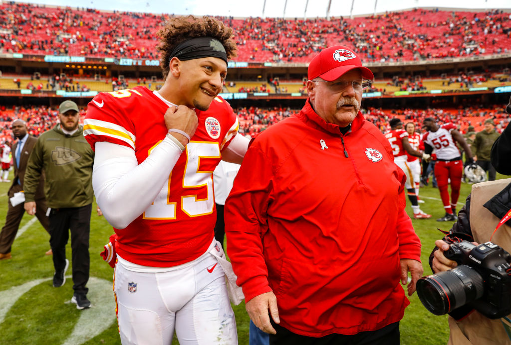 NFL quarterback Patrick Mahomes talks with Kansas City Chiefs head coach Andy Reid.