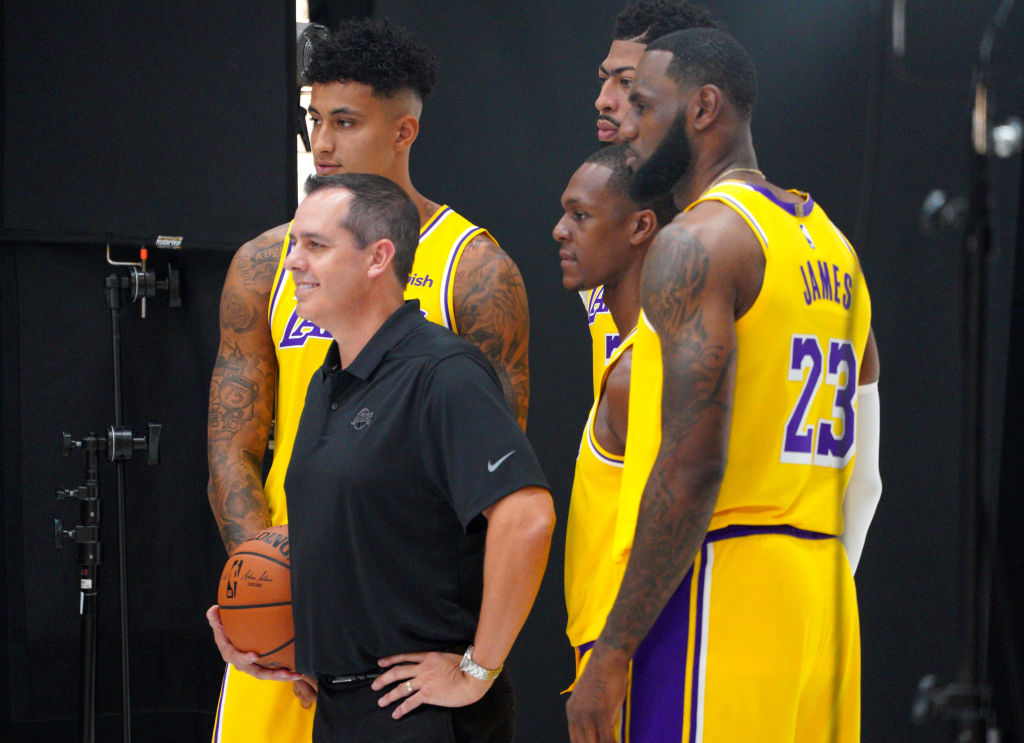 Lakers LeBron James, Kyle Kuzma, Anthony Davis, and Rajon Rondo along with head coach Frank Vogel
