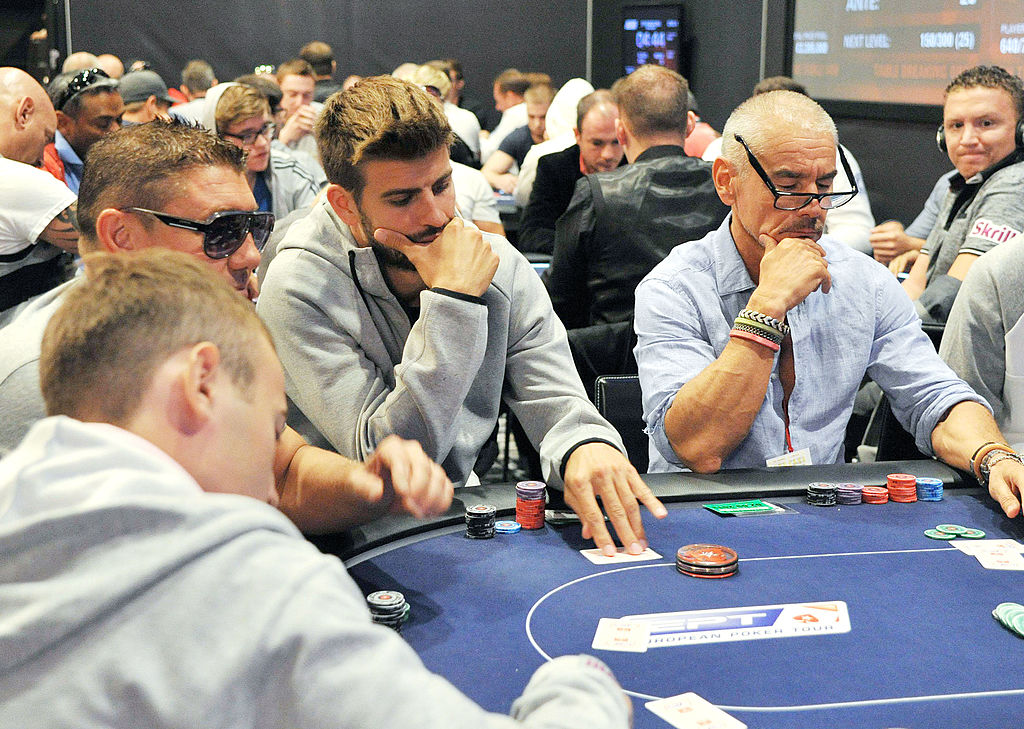 Barcelona football player Gerard Pique attends the European Poker Tour