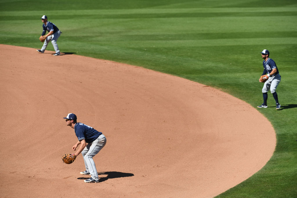The San Diego Padres setting up an infield shift
