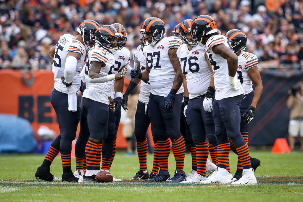 The Chicago Bears' defense huddles up.
