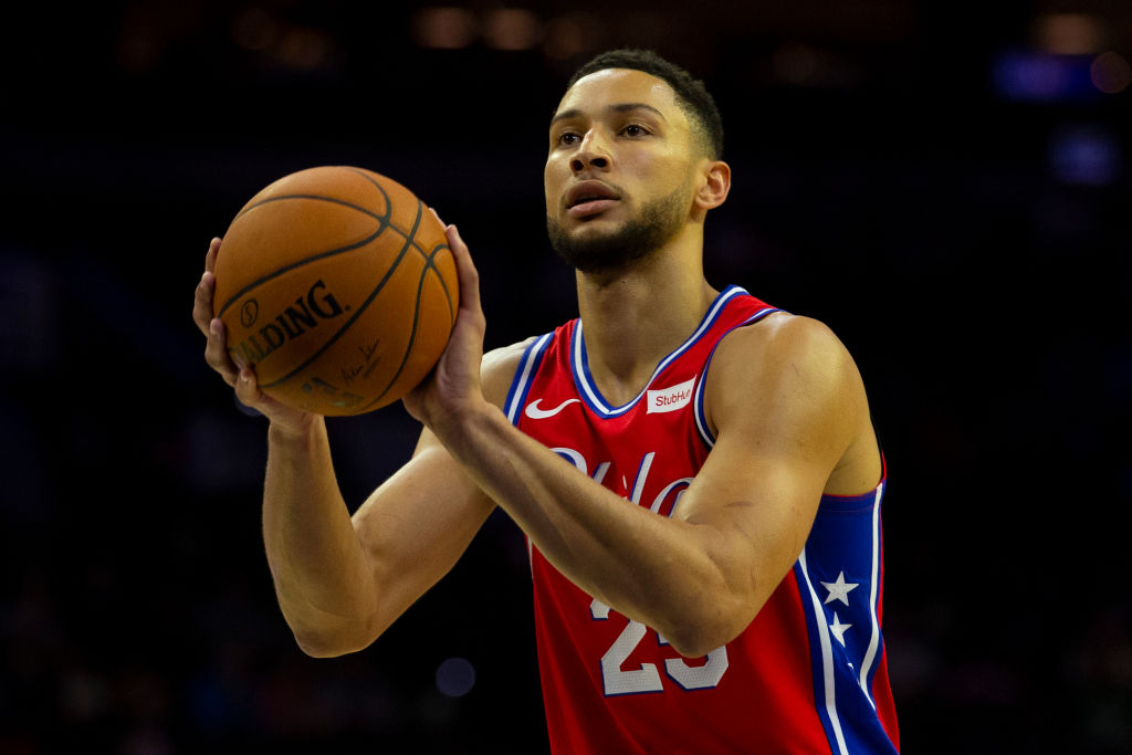 Philadelphia 76ers guard Ben Simmons shoots a foul shot.