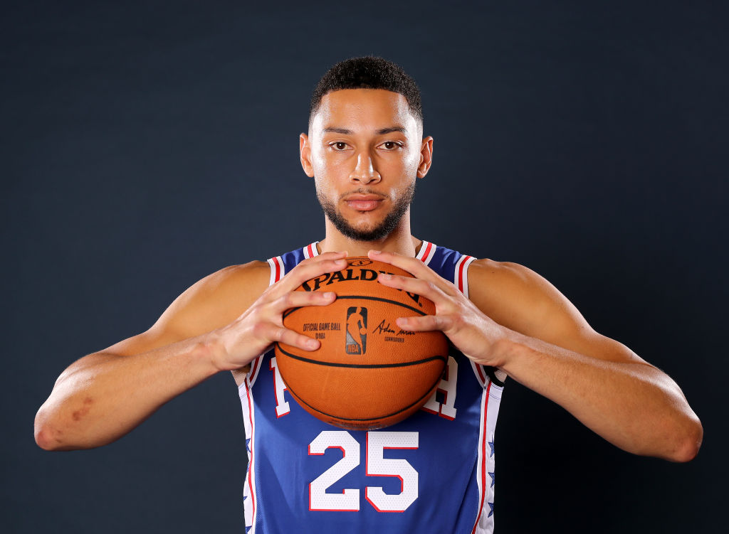 Ben Simmons at the 76ers team photo shoot