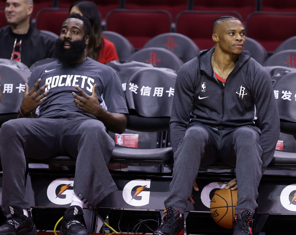 Rockets guards James Harden and Russell Westbrook