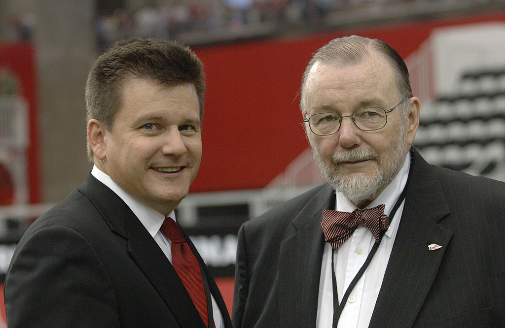 Bill Bidwill with his son and team president Michael Bidwill