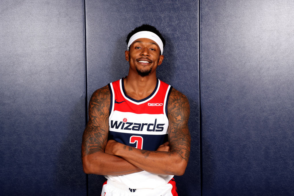 Washington Wizards' guard Bradley Beal poses for a team photo.