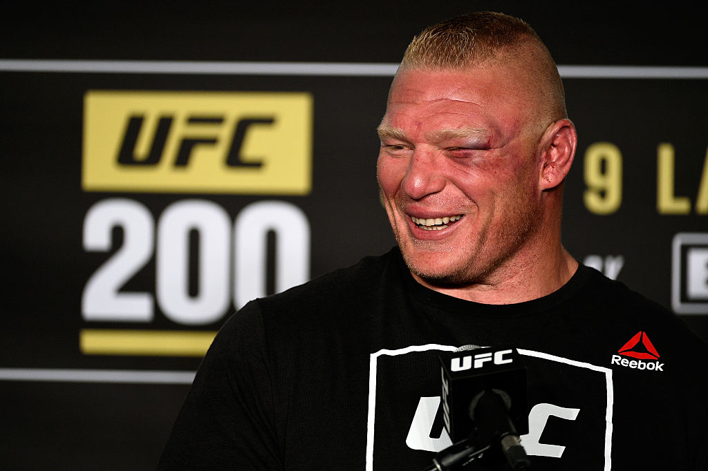 Brock Lesnar speaks to the media during the UFC 200
