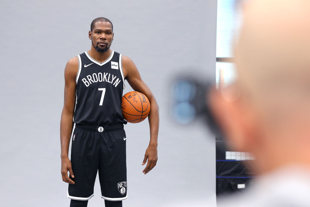 The Brooklyn Nets' Kevin Durant at a team photo shoot